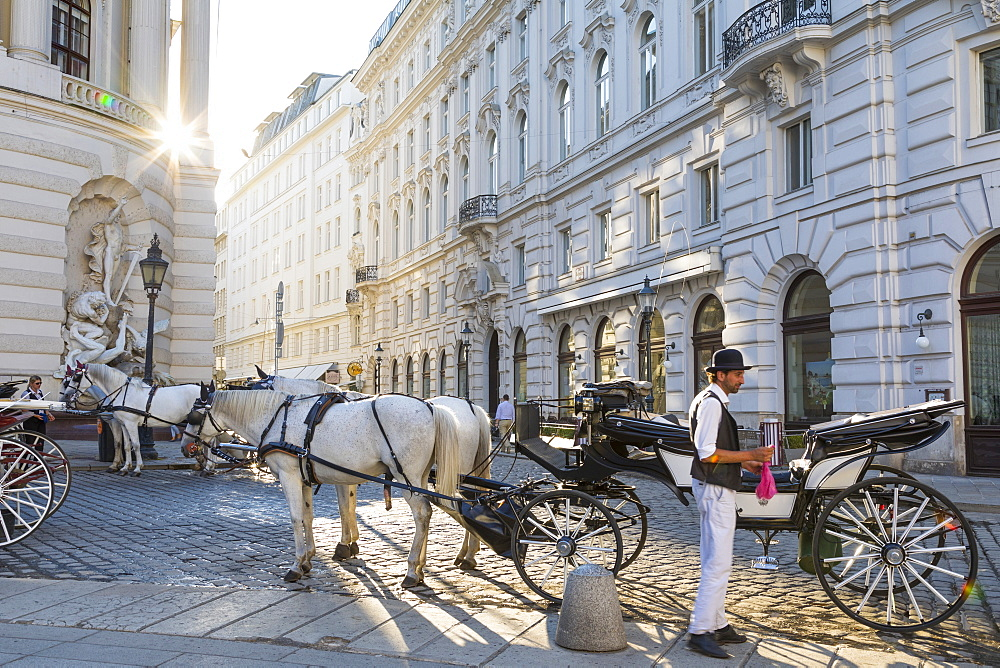 Horse drawn carriage (fiaker) and driver, Hofburg, Michaelerplatz, Vienna, Austria, Europe - 1237-123