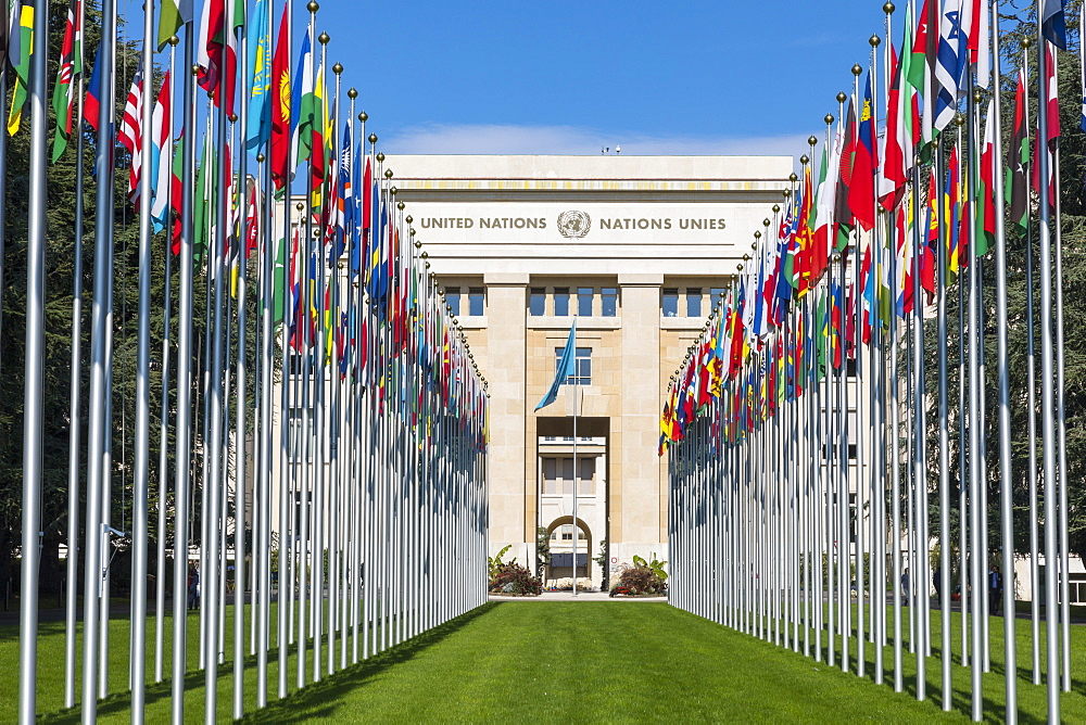 Building A and Flags, The United Nations Office at Geneva (UNOG), Geneva, Switzerland, Europe - 1237-136