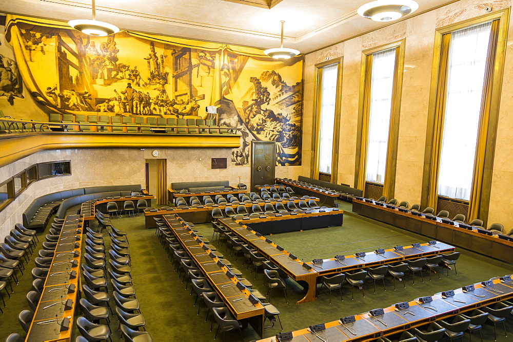 Council Chamber, The Palace of Nations, The United Nations Office at Geneva (UNOG), Geneva, Switzerland, Europe - 1237-144
