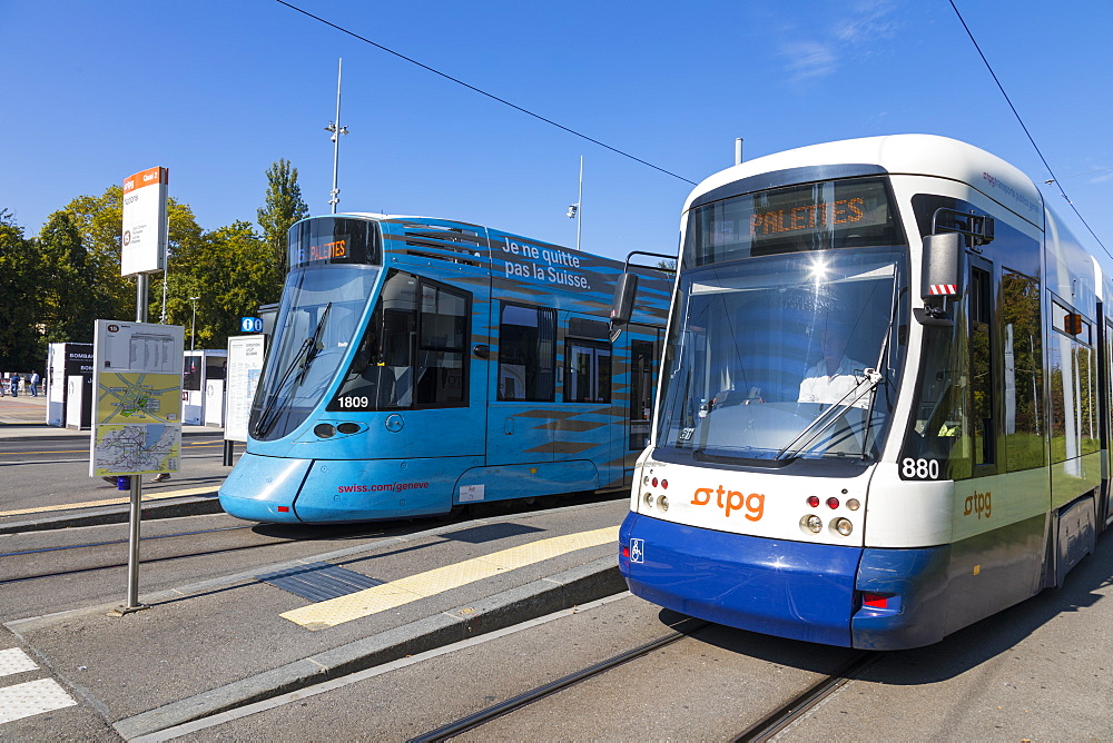 Flexity Outlook Cityrunner (right) and Tango (left) trams at Place des Nations, Geneva, Switzerland, Europe. - 1237-148