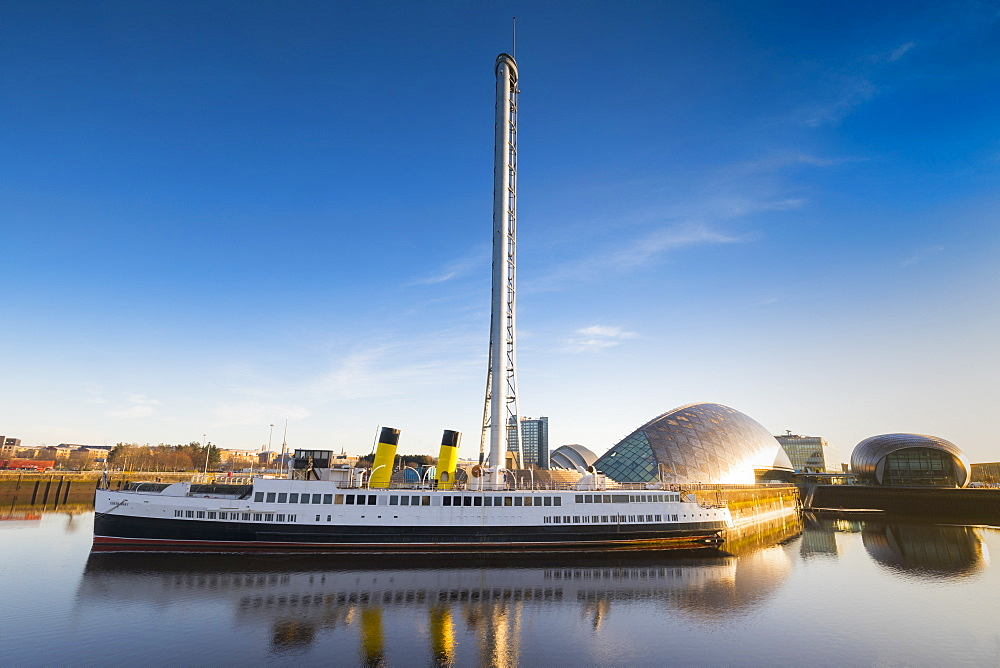 TS Queen Mary, Clyde Steamer, in front of Glasgow Tower, Science Museum and IMax, Glasgow, Scotland, United Kingdom, Europe