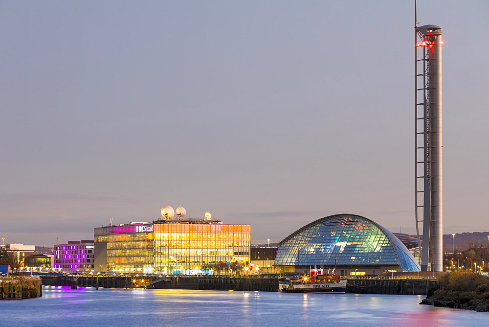 BBC Scotland, Science Museum and Glasgow Tower, Pacific Quay at dusk, Glasgow, Scotland, United Kingdom, Europe - 1237-169
