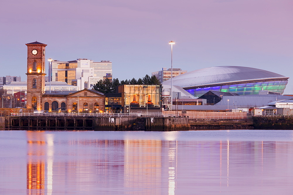 Queen's Dock, Old Pump House, Clydeside Distillery and Hydro, at dusk, Glasgow, Scotland, United Kingdom, Europe - 1237-170