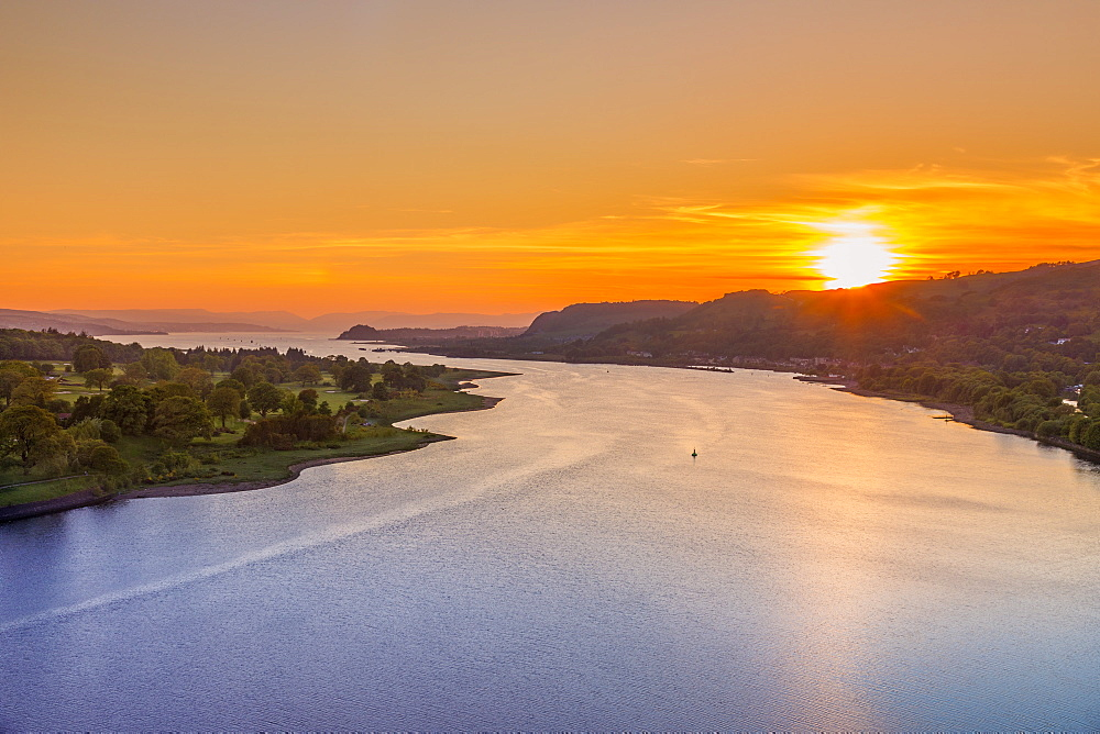Sunset over River Clyde viewed from the Erskine Bridge, Erskine, Scotland, United Kingdom, Europe - 1237-186