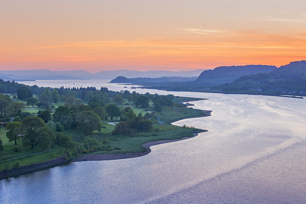 Dusk over River Clyde viewed from the Erskine Bridge, Scotland, United Kingdom, Europe - 1237-189