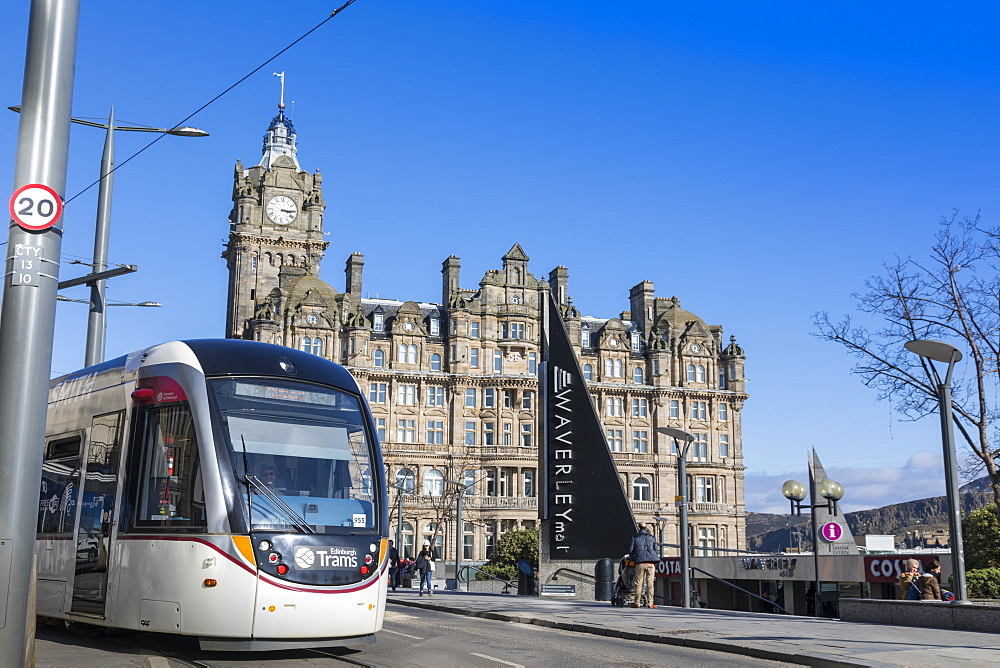 Edinburgh Tram and Balmoral Hotel, Princes Street, Edinburgh, Scotland, United Kingdom, Europe - 1237-194