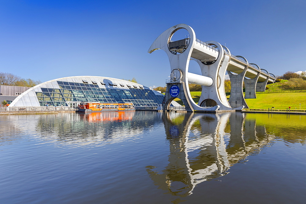 The Falkirk Wheel, Forth and Clyde Canal with Union Canal, Falkirk, Scotland, United Kingdom, Europe - 1237-201