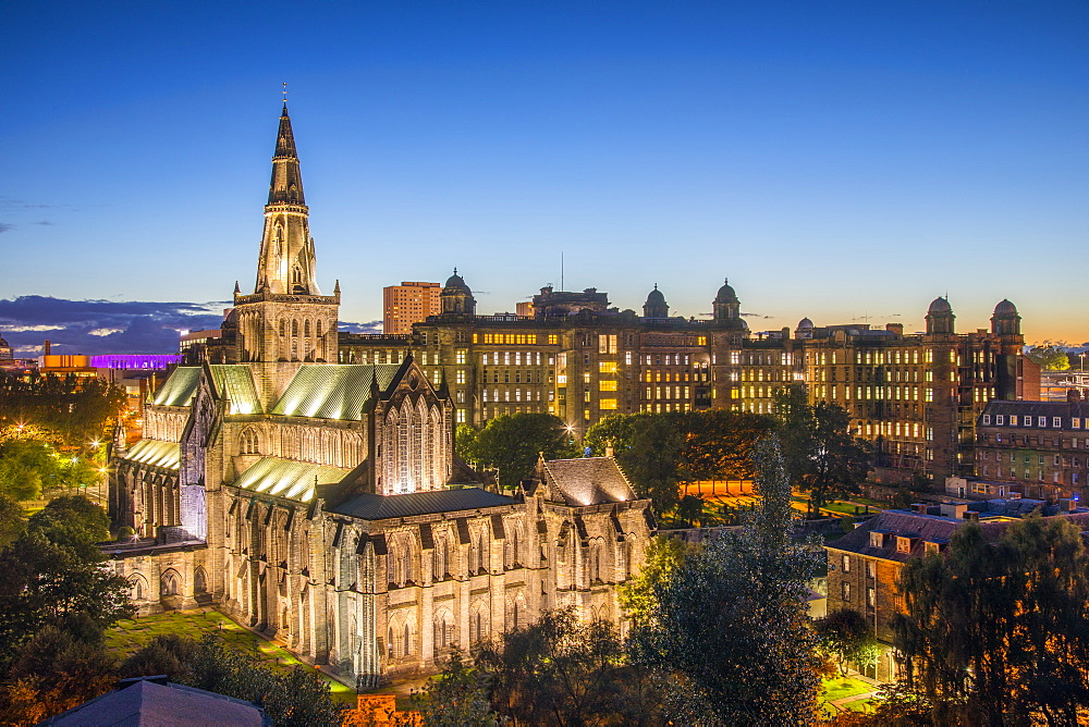 Glasgow Cathedral and Royal Infirmary at Dusk, Glasgow, Scotland, United Kingdom, Europe. - 1237-206