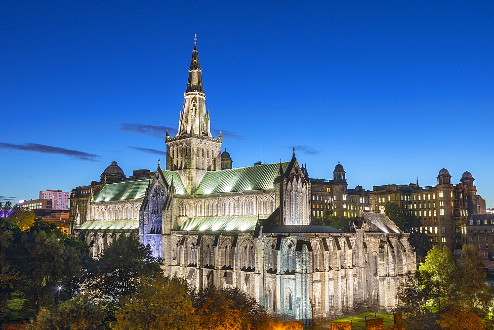 Glasgow Cathedral at dusk, Glasgow, Scotland, United Kingdom, Europe - 1237-214