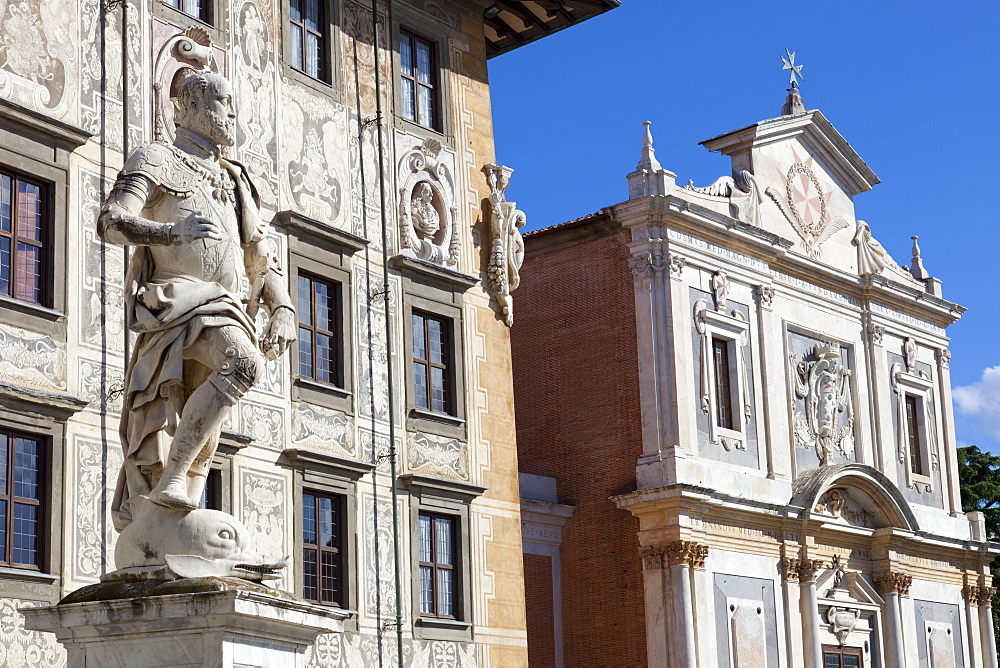 Statue of Cosimo I, The Knight's Palace, and The Church of Saint Stephen of The Knights, Piazza dei Cavalieri, Pisa, Tuscany
