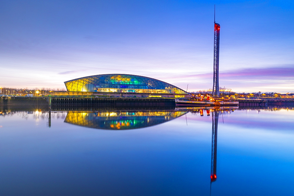 The Science Museum and Glasgow Tower at dusk, River Clyde, Glasgow, Scotland, United Kingdom, Europe.