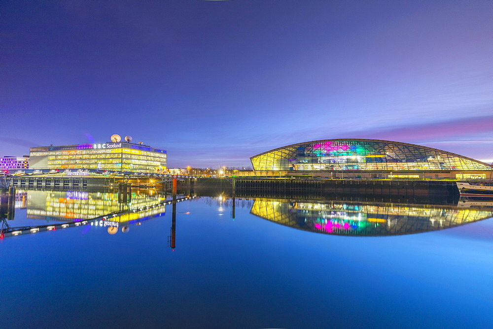 BBC Scotland Headquarters and The Science Museum at dusk, River Clyde, Glasgow, Scotland, United Kingdom, Europe.