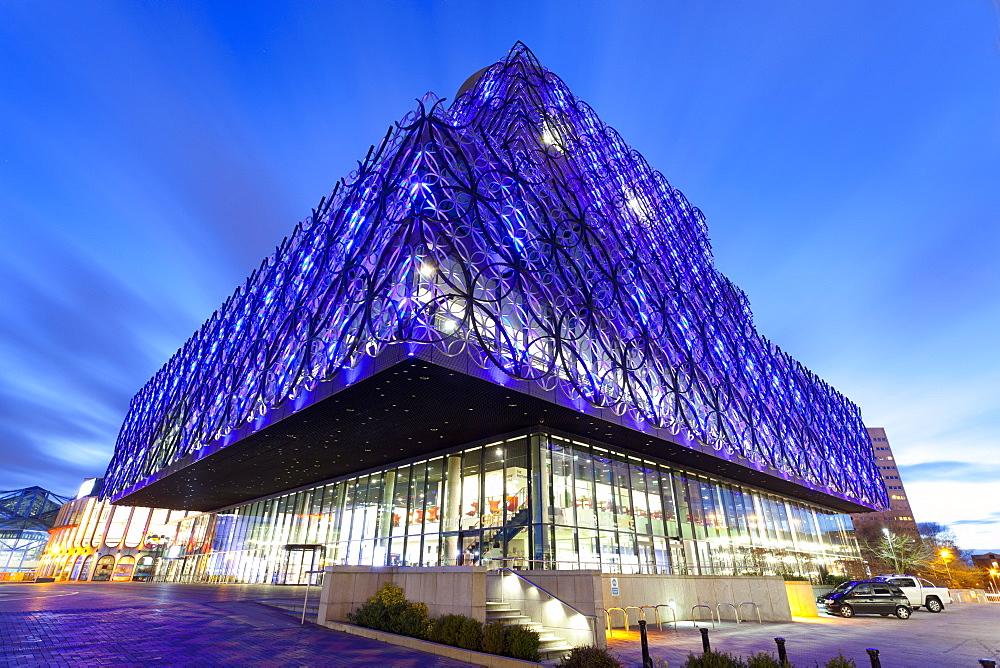 The Library of Birmingham, illuminated at night, Centenary Square, Birmingham, England, United Kingdom, Europe