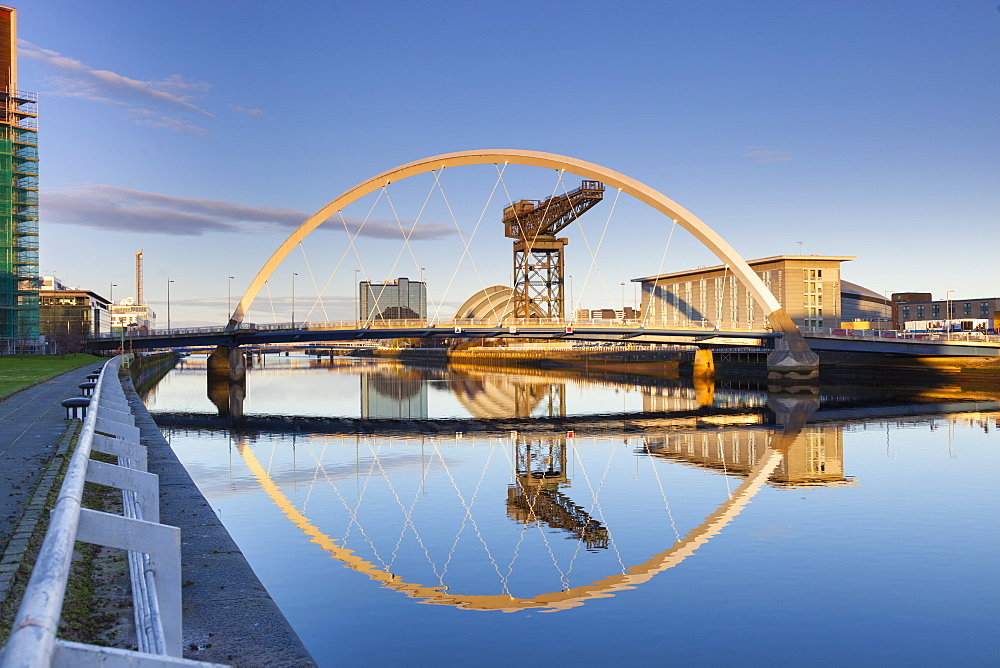 The Clyde Arc Bridge (Squinty Bridge), Glasgow, Scotland, United Kingdom, Europe