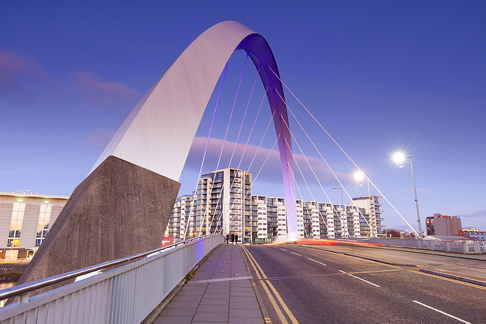 The Clyde Arc Bridge (Squinty Bridge), view towards Finnieston, Glasgow, Scotland, United Kingdom, Europe