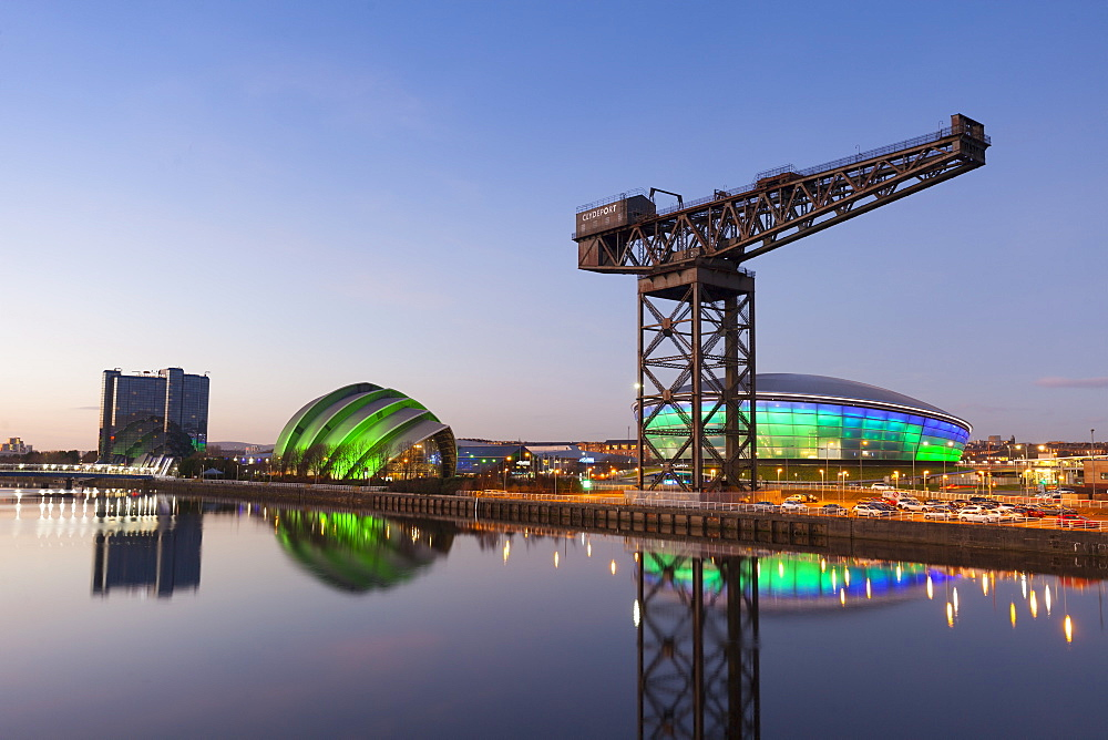 Sunset view of River Clyde, Finnieston Crane, The Hydro and the Armadillo, Glasgow, Scotland, United Kingdom, Europe