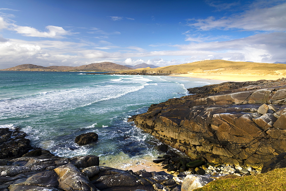 Rocky shoreline on west coast of Isle of Harris, Outer Hebrides, Scotland, United Kingdom, Europe - 1237-92