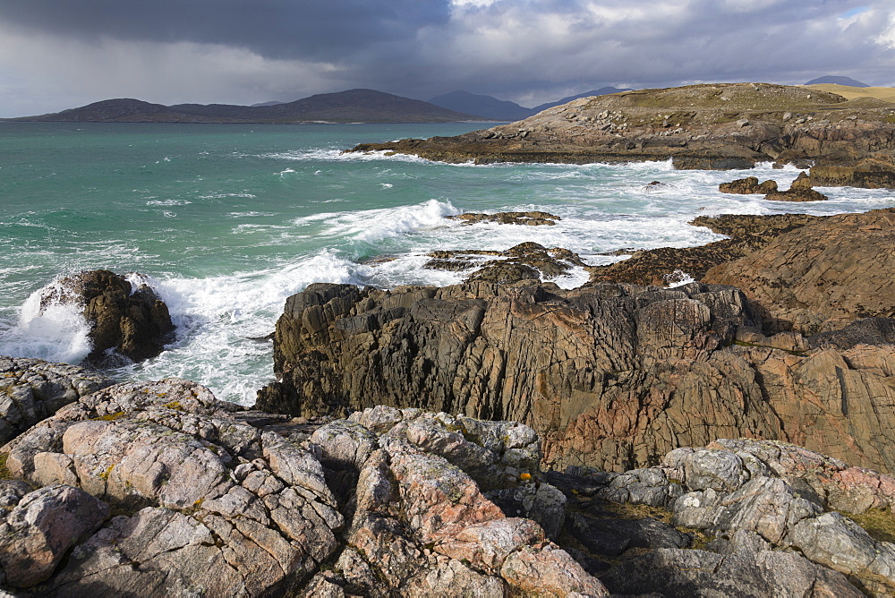 Rocky shoreline on west coast of Isle of Harris, Outer Hebrides, Scotland, United Kingdom, Europe - 1237-96