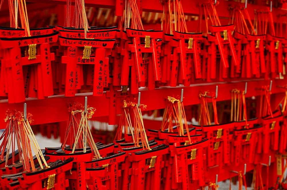 Small torii votive offerings, Fushimi Inari shrine, Kyoto, Japan, Asia