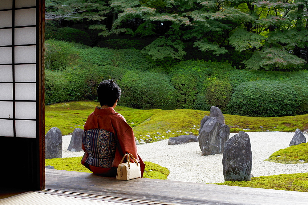 Quiet moment in Komyo-in temple garden, Kyoto, Japan, Asia - 1238-131