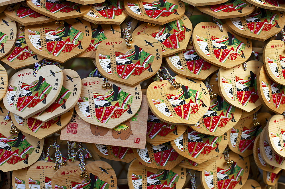 Heart-shaped ema votive offerings, Kamigamo shrine, Kyoto, Japan, Asia