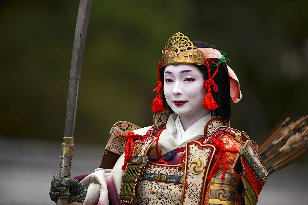 Female warrior during the Jidai Festival, Kyoto, Japan, Asia - 1238-14