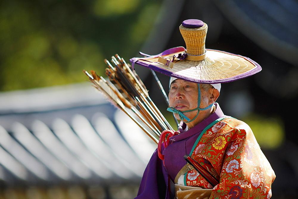 Mounted Yabusame archer, Jidai festival, Kyoto, Japan, Asia