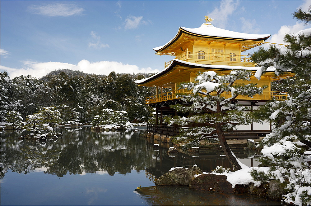Snow-covered Kinkaku-ji (Temple of the Golden Pavilion) (Rokuon-ji), UNESCO World Heritage Site, Kyoto, Japan, Asia - 1238-20