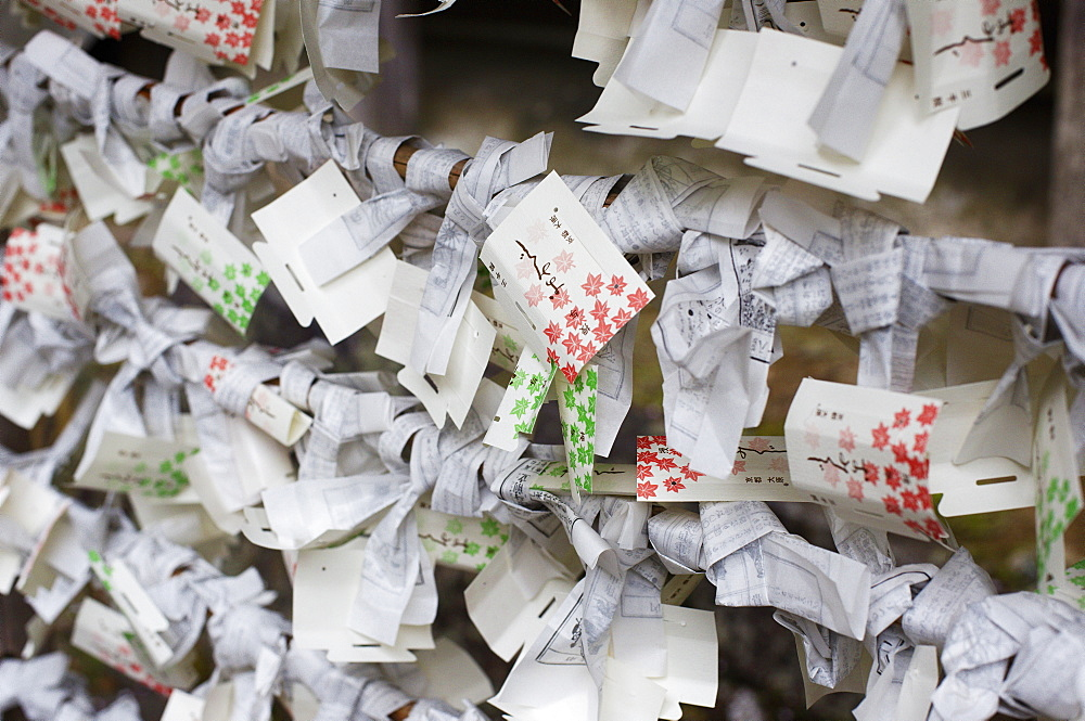 Votive offerings and discarded fortunes, Sanzen-in Temple, Kyoto, Japan, Asia