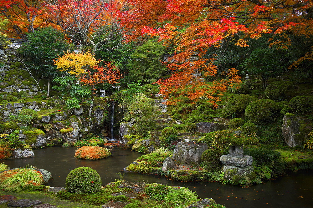 Japanese garden in autumn, Ohara valley, Kyoto, Japan, Asia