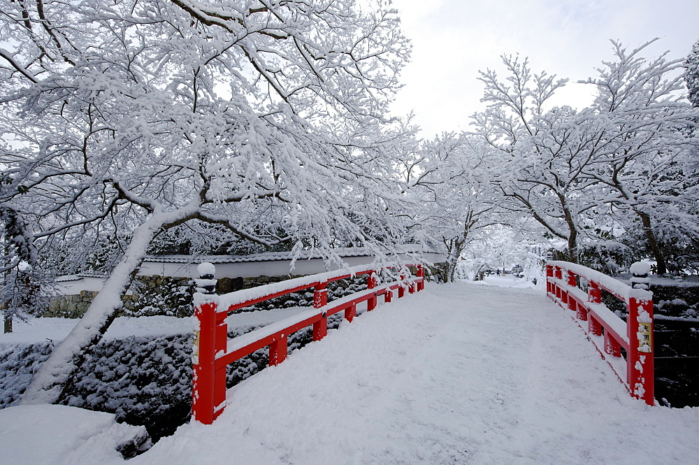 Snow-covered Japanese bridge, Ohara valley, Kyoto, Japan, Asia