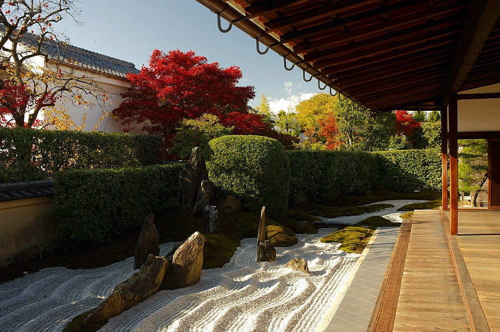 Zen garden in Zuiho-in temple, Kyoto, Japan, Asia