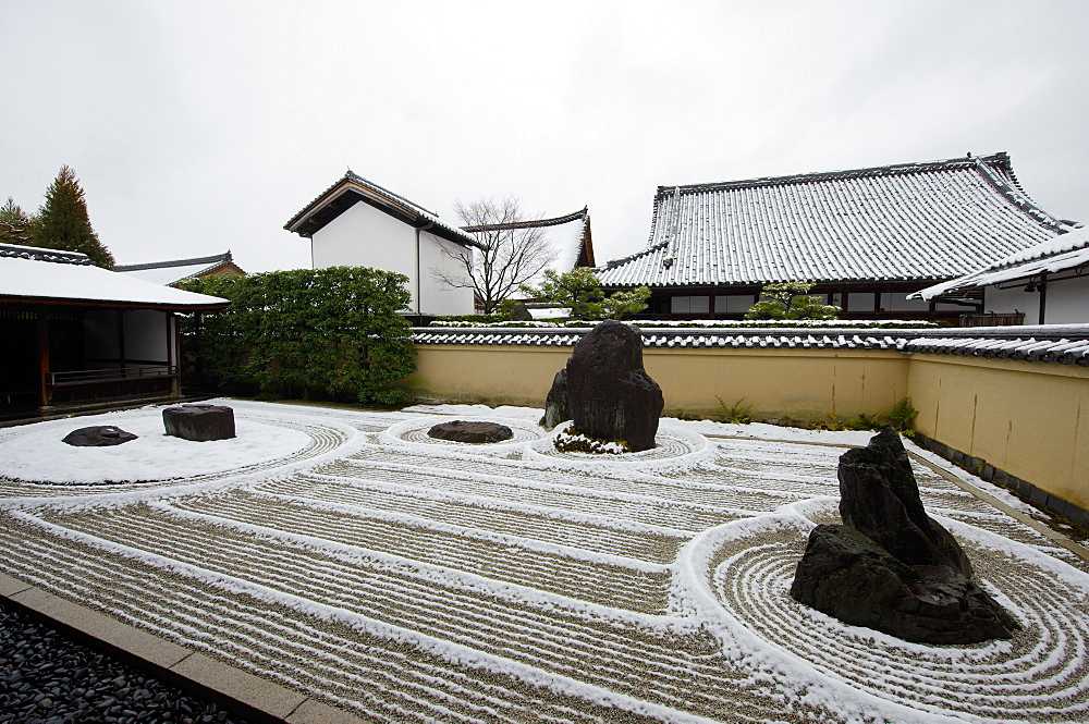 Snow-covered rock garden in Ryogen-in temple, Kyoto, Japan, Asia