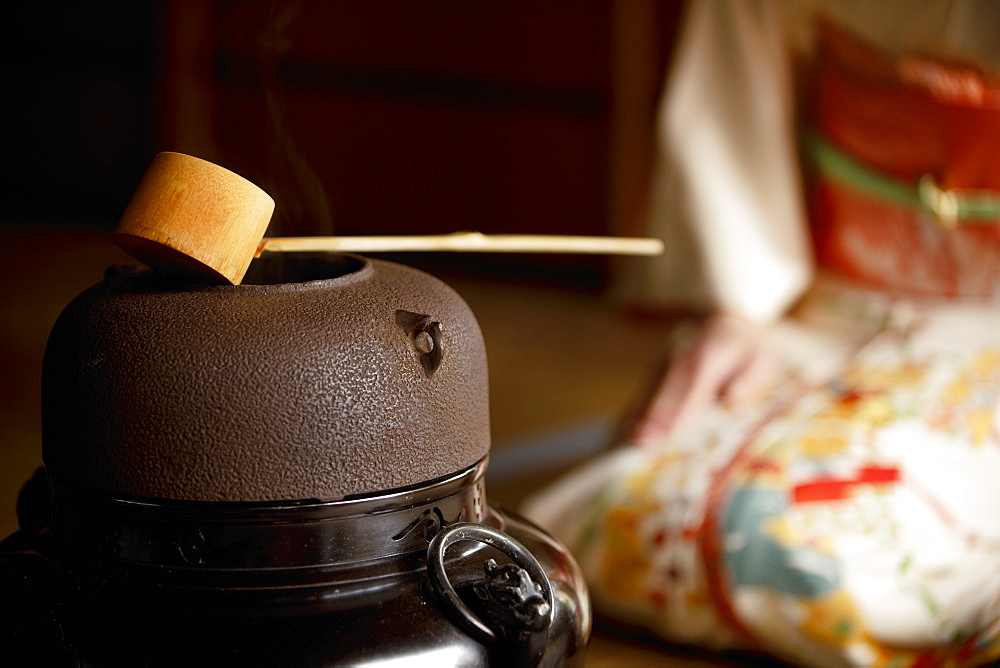 Bamboo ladle resting on water pot during tea ceremony, Shodensanso villa, Kyoto, Japan, Asia