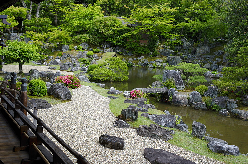 The rock garden of Sanpo-in temple, Kyoto, Japan, Asia - 1238-83