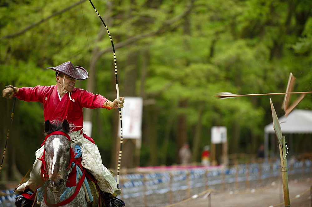 Yabusame archery competition in Shimogamo shrine, Kyoto, Japan, Asia - 1238-92