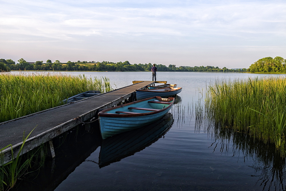Fisherman, Upper Lough Erne, Co. Fermanagh, Ulster, Northern Ireland, United Kingdom, Europe