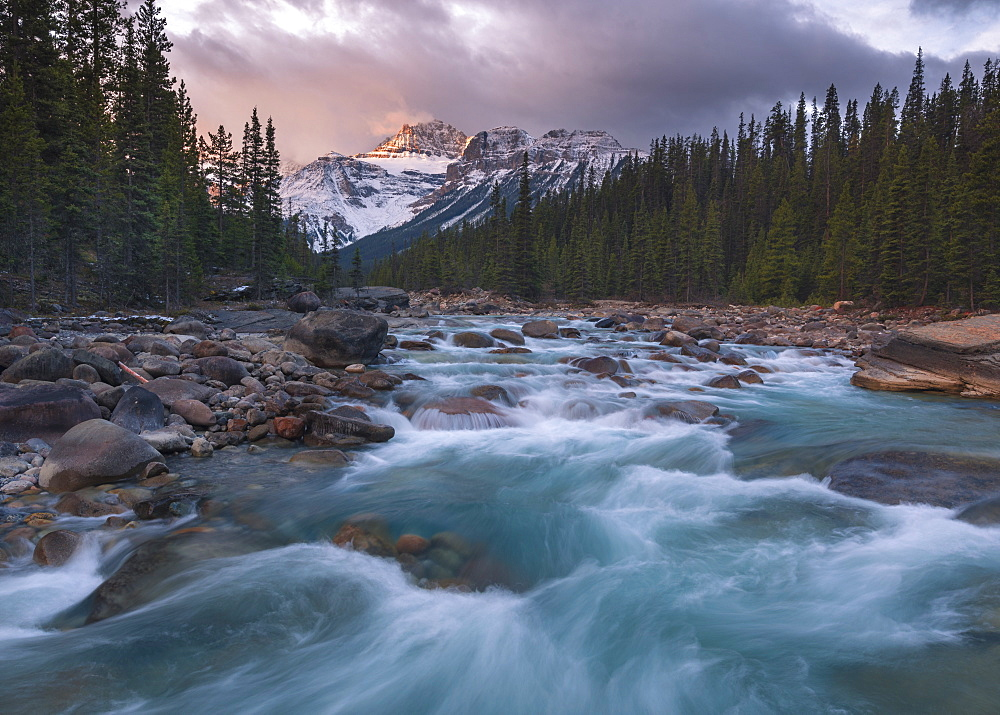 Sunrise and glacial blue rushing waters at Mistaya Canyon, Banff National Park, UNESCO World Heritage Site, Alberta, The Rockies, Canada, North America - 1241-107