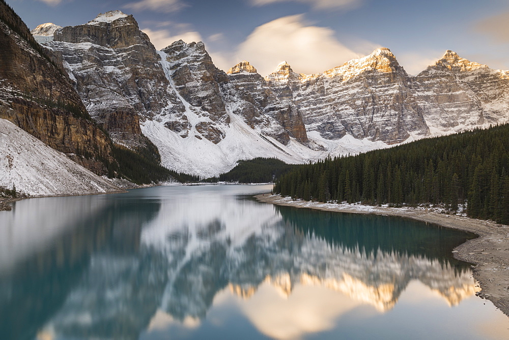 Mountains reflected in Moraine Lake, Banff National Park, UNESCO World Heritage Site, Alberta, The Rockies, Canada, North America - 1241-109