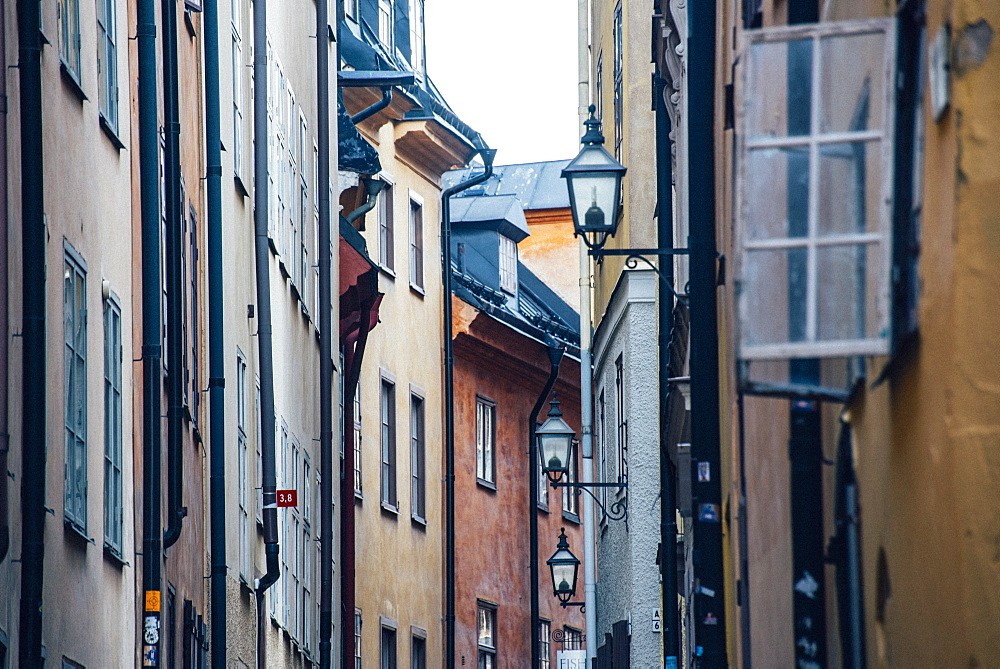 Historic and colorful buildings in Hell's Alley, Gamla Stan, Stockholm, Sweden, Scandinavia, Europe