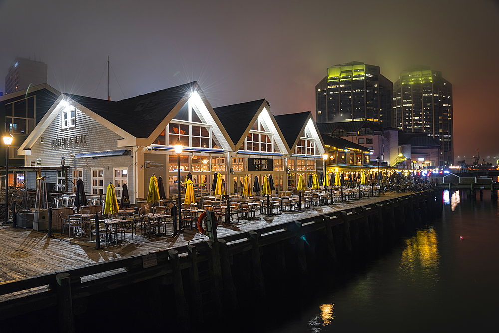 Halifax historic waterfront at night, Halifax, Nova Scotia, Canada, North America