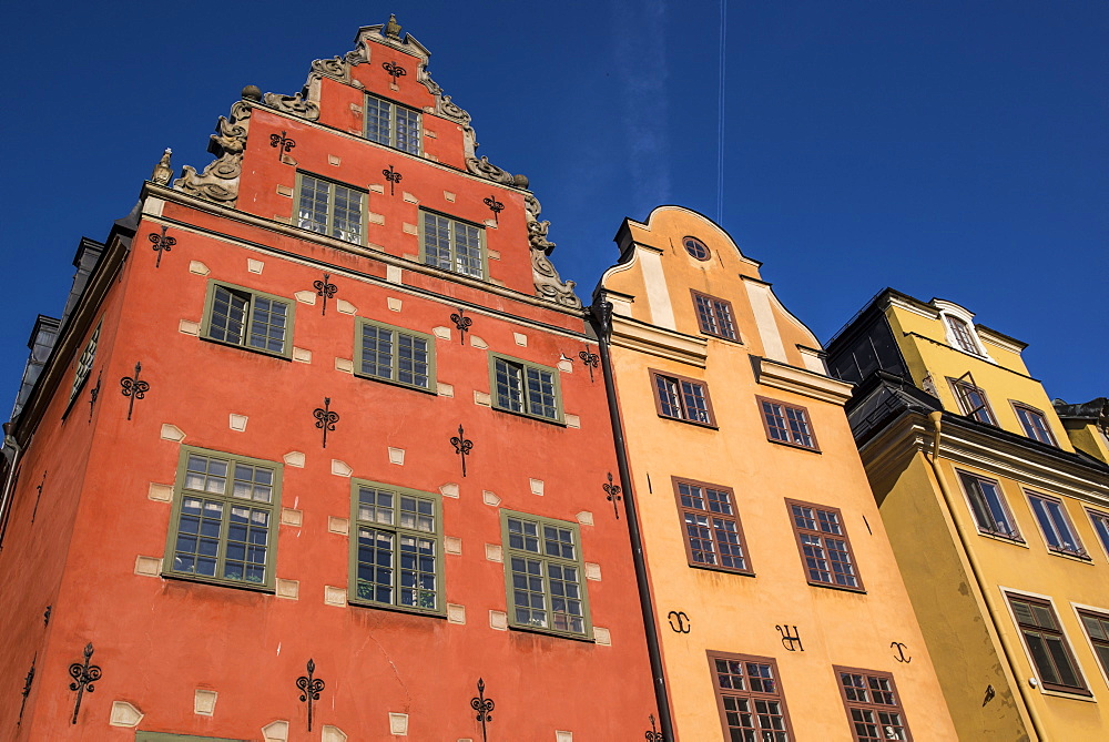 Colorful buildings in Stortorget, located in historic Gamla Stan, Stockholm, Sweden, Scandinavia, Europe