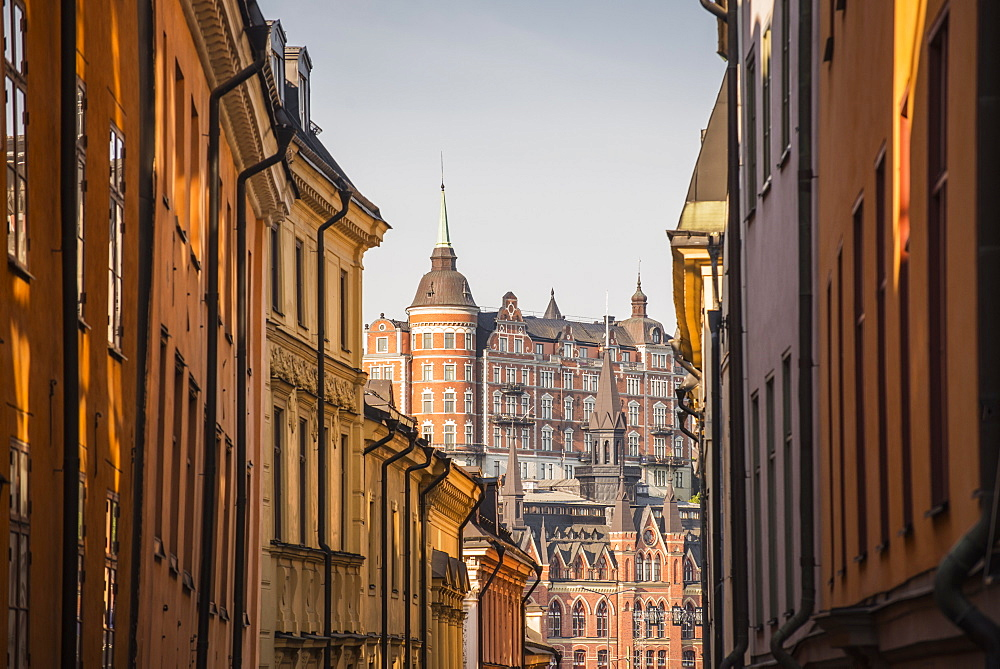View of Mariaberget from historic Gamla Stan in Stockholm, Sweden, Scandinavia, Europe