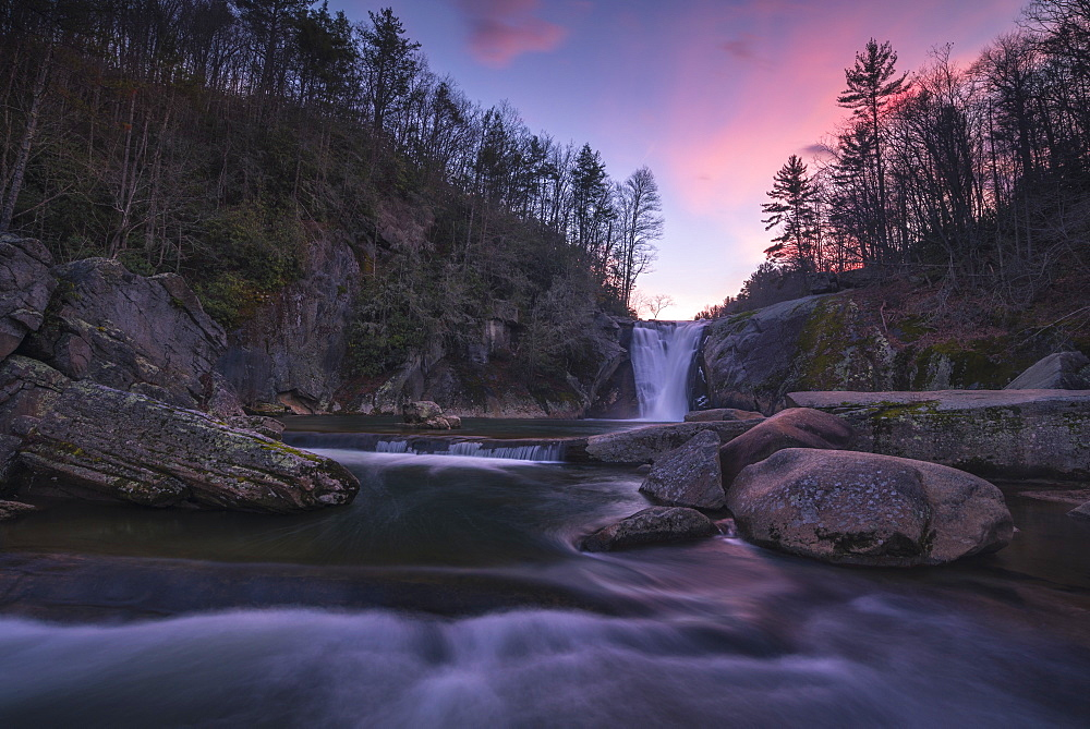 Elk River Falls at sunset, Elk River, Blue Ridge Mountains, North Carolina, United States of America, North America