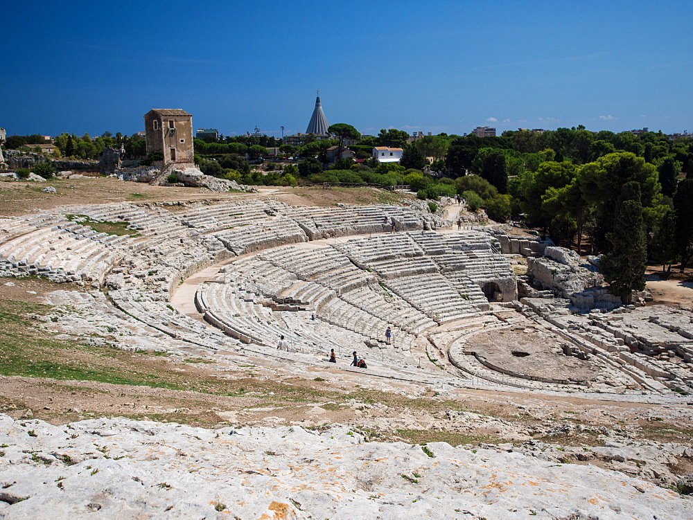 The 5th century BC Teatro Greco, Parco Archeologico della Neapolis, Syracuse (Siracusa), Sicily, Italy, Europe - 1242-128