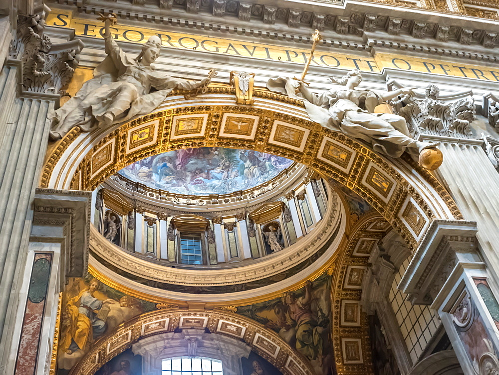 Interior, St. Peter's Basilica, Vatican City, Rome, Italy, Europe
