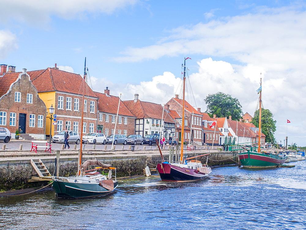 Ribe's riverfront wharf, Ribe, Jutland, Denmark, Europe