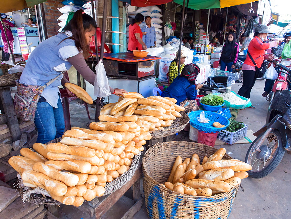 Baguettes being sold at market, Siem Reap, Cambodia, Indochina, Southeast Asia, Asia