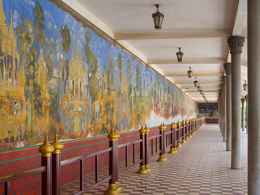 Murals in the royal palace complex depicting scenes from the Ramayana, Phnom Penh, Cambodia, Indochina, Southeast Asia, Asia - 1242-204