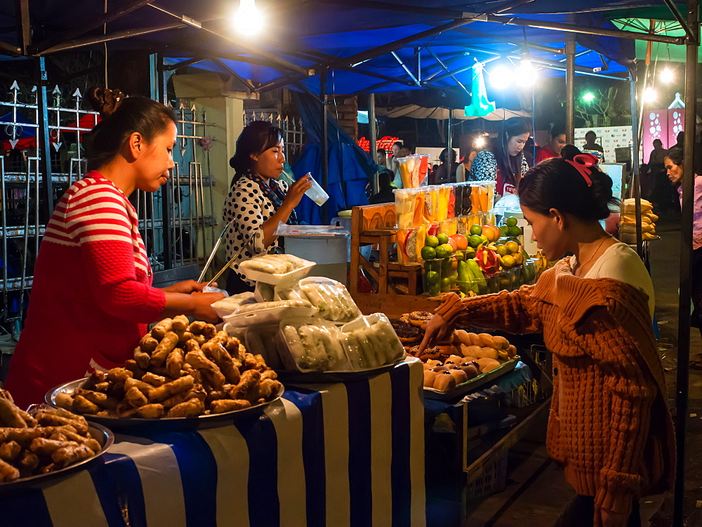 Night market food stalls, Luang Prabang, Laos, Indochina, Southeast Asia, Asia - 1242-226
